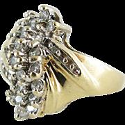 Vintage 10K Yellow Gold Diamond Cocktail Ring