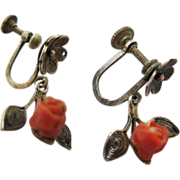 Charming Antique Chinese Silver Filigree Carved Coral Rose Earrings