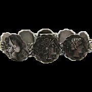 Antique Victorian Sterling Silver Etruscan / Homeric Medallion Bracelet After George Shiebler
