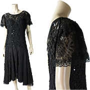 Flirty Vintage 1970's Black Lace And Ribbonwork Dress With Sequins And Original Underdress / .