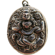 Antique Victorian Anglo-Indian Figural Sterling Silver Locket - Double-Sided