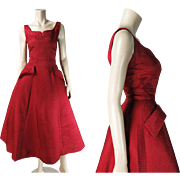 SALE PENDING 1950's Vintage Mollie Parnis Sleeveless Pomegranate Red Silk Cocktail Dress