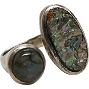 Vintage 1960's Sterling Silver Modernist Labradorite And Abalone Ring
