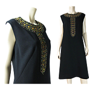 Smart 1960's Black Wool Knit Shift Dress With Beads, Sequins And Rhinestones In Larger Size 16