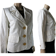 1980's Vintage Yves Saint Laurent White Cotton Damask Rive Gauche Blazer Jacket