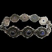Vintage Sterling Silver Bracelet With Amethyst Cabochons