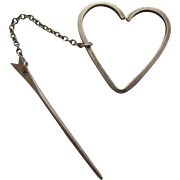 Vintage Herman Roth Modernist Sterling Silver Stickpin With Heart Dangle