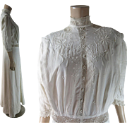 Crisp Antique Edwardian Embroidered Linen Tea Dress With Irish Crochet Lace