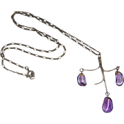 Vintage Sterling Silver And Amethyst Modernist Pendant Necklace With Figaro Chain