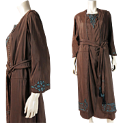 Antique Late Edwardian Chocolate Silk Dress With Tassels And Embroidery - Larger Size