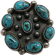 Vintage Navajo Native American Sterling Silver, Turquoise And Niello Enameled Cluster Ring