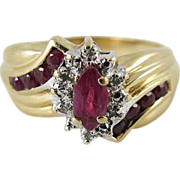 Vintage 14K Gold Ruby And Diamond Retro Cocktail Ring