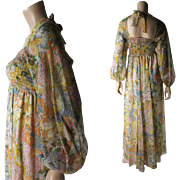 Romantic 1970's Vintage Gauzy Cotton Boho Dress With Butterfly And Flower Garden Print