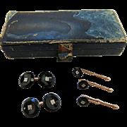 Vintage Art Deco Period Krementz 14K Gold And Onyx Tuxedo Set