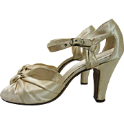 1930's Vintage Candlelight Silk d-Orsay Ankle Strap Peep-Toe Evening or Wedding Shoes ...
