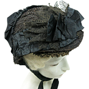 SOLD Antique Victorian 1860's Horsehair, Lace And Silk Mourning Bonnet
