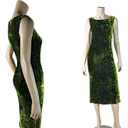1980's Vintage Escada Moss Green Voided Silk Velvet Sleeveless Dress