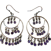 Lively Vintage Sterling Silver And Amethyst Chandelier Earrings 2 5/8-inches Long