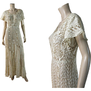 Wonderful Antique Edwardian Mixed Lace And Hand-Worked Eyelet Tea Dress
