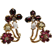 Wonderful Vintage Pair Of 14K Gold Mixed Gemstone Clip Earrings With Diamonds