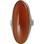 Vintage Sterling Silver And Carnelian Modernist Ring