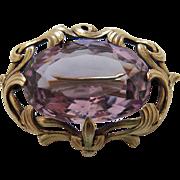 Antique Art Nouveau 14K Gold 18 Carat Amethyst Brooch