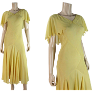 Summery 1930's Vintage Bias-Cut Dandelion Yellow Silk Chiffon Dress