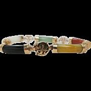 Vintage Chinese 18K Gold Mixed Gemstone Bracelet With White Jadeite