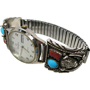 Vintage Signed Navajo Silver, Coral And Turquoise Buffalo Head Watch Tip Bracelet With Running