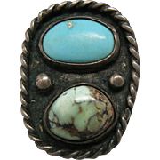 Vintage Navajo Native American Sterling Silver And Turquoise Ring