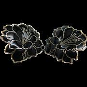 Vintage Enameled Sterling Silver Flower Earrings