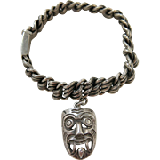 Vintage 1960's Castelan Mexican Sterling Silver Mesh Bracelet With Aztec Tlaloc Mask Charm