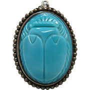Vintage 1930's 2 1/4-Inch Sterling Silver And Blue Molded Glass Scarab Pendant / Brooch