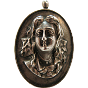 Impressive Antique Art Nouveau Lady Pendant / Brooch In Heavy Sterling Silver