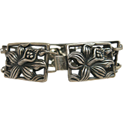 Vintage Danecraft Felch Company Sterling Silver Orchid Bracelet 8 1/4-Inches Long