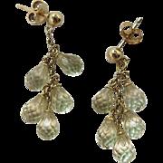 Wonderful 14K Gold Citrine Briolette Dangle Earrings