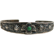 Vintage Native American Thunderbird And Concho Cuff Bracelet With Turquoise