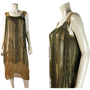 1920's Vintage Fringed Lame Flapper Dress