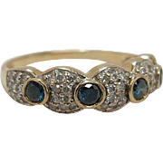 14K Gold Blue And White Diamond Ring Size 10