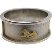 18K Gold And Silver Maine Estate Ring With Egyptian Symbols