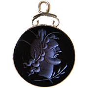 Antique Victorian 10K Rose Gold Carved Carnelain Intaglio Watch Fob / Pendant