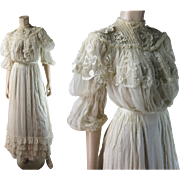 Romantic Edwardian Lace And Organdy Two-Piece Dress