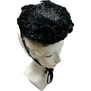 Antique 1860's Victorian Beaded Black Velvet Hat