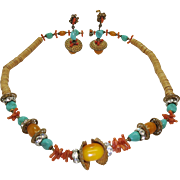 Colorful And Lively 1970's Vintage Miriam Haskell Necklace And Earrings Set