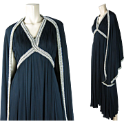 Fab 1960's Vintage Black Evening Dress And Matching Shawl With Beads, Sequins And Faux Pearls