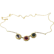14K Gold Ruby, Purple Sapphire And Green Sapphire Double-Link Estate Necklace