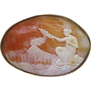 Vintage 14K Gold Scenic And Figural Shell Cameo Brooch Of Vesuvius