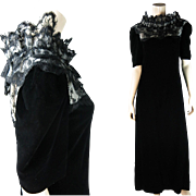 1970's Vintage Mary McFadden Black Silk Velvet And Lace Dress With Sara Fredericks Retailers L