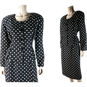 "1980's Vintage Christian Dior ""The Suit"" Label Polka-Dot Linen Suit With Peplum Jack"