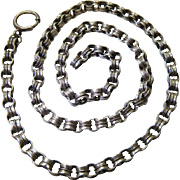Antique Victorian Sterling Silver Double Rolo Chain With 1/2-Inch Bolt / Spring Ring